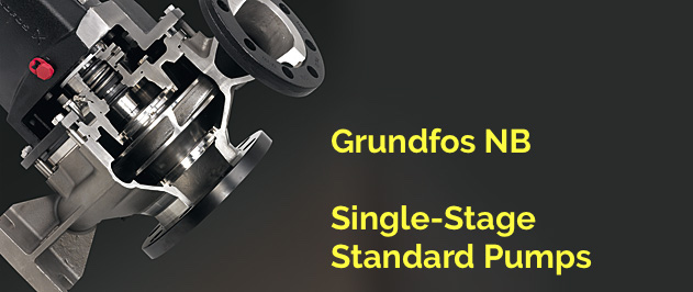Grundfos NB NBG NBE and NBGE single-stage end-suction standard pump family in made in stainless steel.