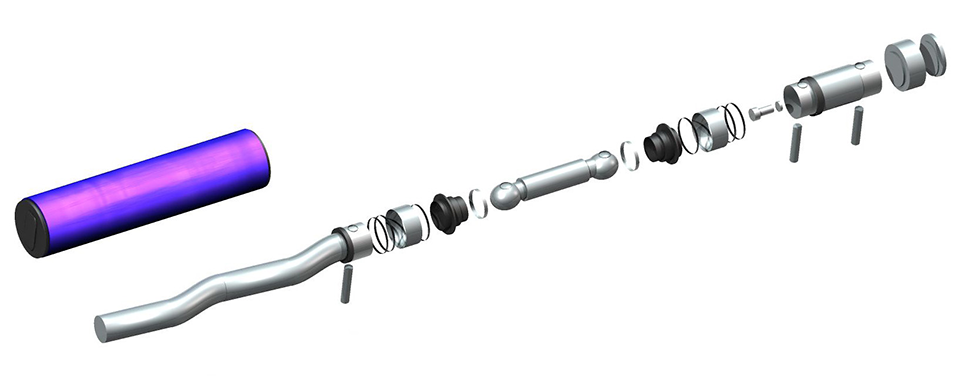 Exploded view of Netzsch positive displacement pump or Progressive cavity pump