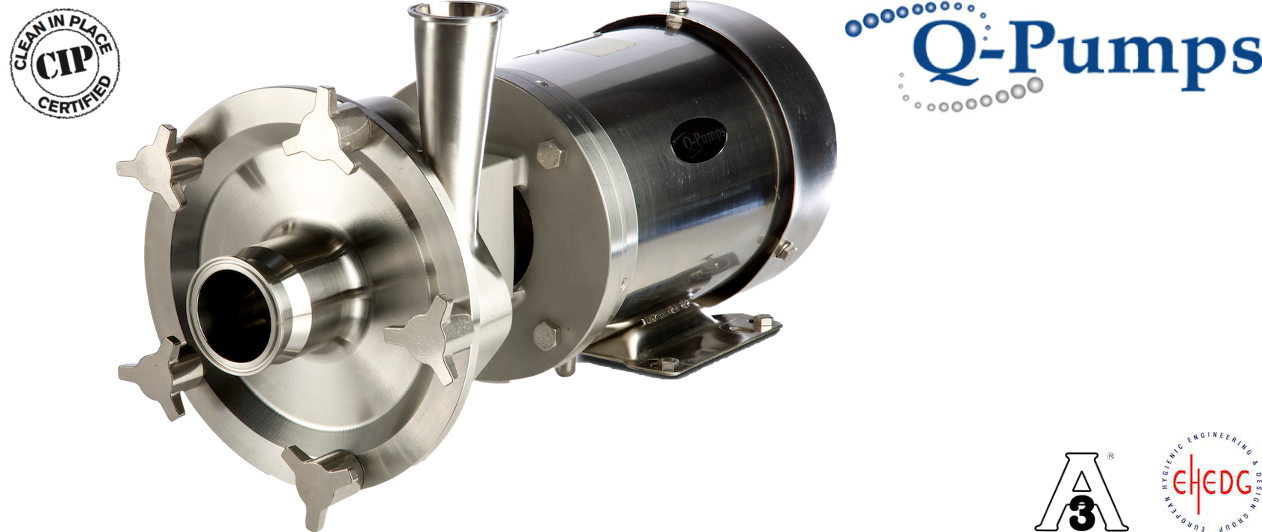 Pompes Centrifuges pour applications sanitaires Q-Pumps LC - Nettoyage CIP, Certifiée EHEDG, pour répondre aux besoins de chaque application dans l'industrie alimentaire et les boissons.