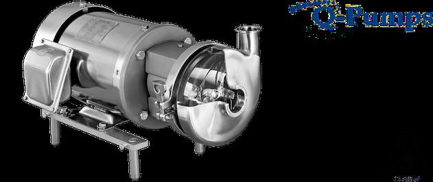 Q-Pumps QC model met optie QC+ Pomp. Centrifugaalpompen, 3A gecertificeerd, eenvoudig in onderhoud, de QC/QC+ pompen kunnen een debiet aan tot 60 m3/hr. De QC series zijn initieel ontworpen voor de melkvee industrie maar kennen ondertussen sterke groei in heel uiteenlopende industrieën.