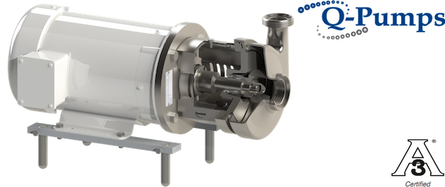 Q-Pumps QC Pumps and its QCB+ Pump option. Centrifugal Pumps, 3A certified, simple to maintain, ideal for breweries and soda fluids.