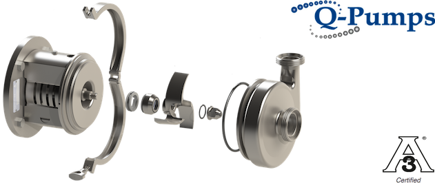 Q-Pumps QCB+ centrifugal pumps are particularly well suited for breweries thanks to their design that decreases wearing when pumping wort.
