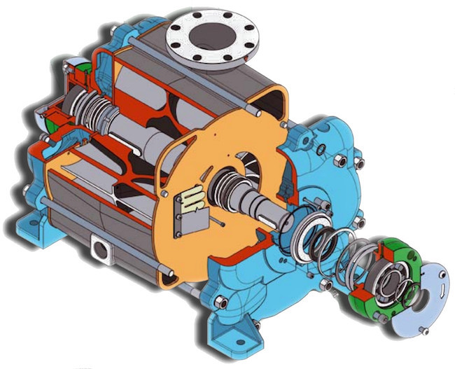 Exploded view of a Travaini TRVX model. Very Compact with high performance.