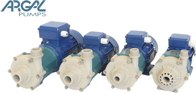 Thermoplastic pump for chemical fluid transfer and handling, with magnetic transmission, Mag-Drive.