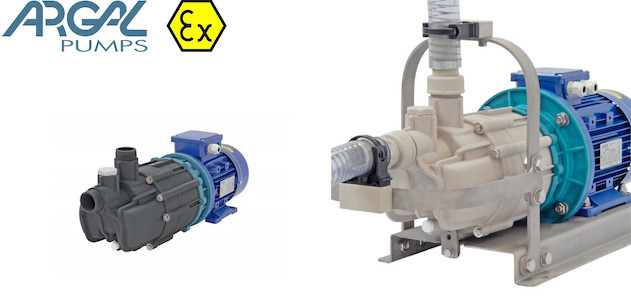 Thermoplastic polymeric pumps with magnetic drive (mag drive), self-priming for the chemical industry.